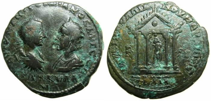 Ancient Coins - MOESIA INFERIOR.MARCIANOPOLIS.Gordian III AD 238-244 and Tranquillina from AD 241.AE.5 Assaria.~~~Statue of Serapis within tetrastyle temple.