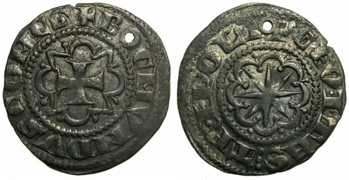 Ancient Coins - CRUSADER STATES.Counts of TRIPOLI.Bohemond VI or VII c.1251-1287.AR.Demi Gros.****small piercing, good space filler****
