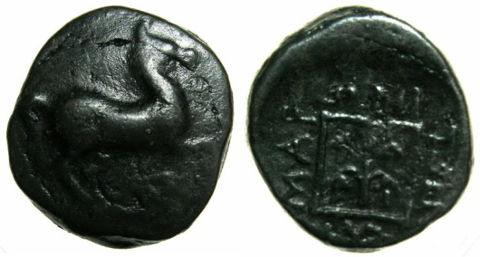 Ancient Coins - THRACE.MARONEIA.Circa 398-347 BC.AE.15.4mm.~~~Prancing horse.~#~Grape arbor.
