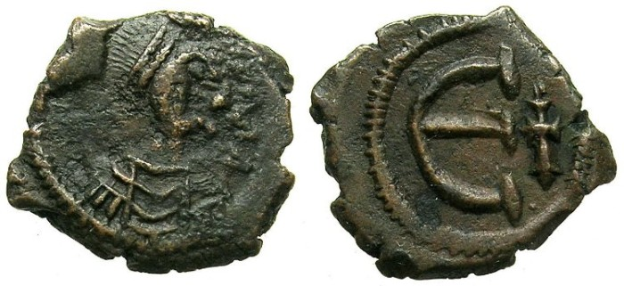 Ancient Coins - BYZANTINE EMPIRE.Maurice Tiberius AD 582-602.AE.Pentanummia.Mint of CONSTANTINOPLE.
