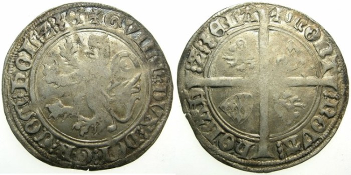 World Coins - NETHERLANDS.County of HOLLAND.William VI of Beieren AD 1404-1417.AR.Groat.Issue of 1411.