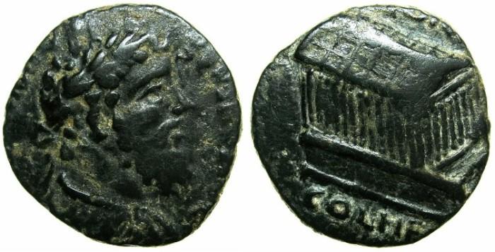 Ancient Coins - SYRIA.COELE-SYRIA.HELIOPOLIS.Septimius Severus AD 193-211, posthumus issue.AE.23.4MM.~#~Temple of Zeus Heliopolitianus.