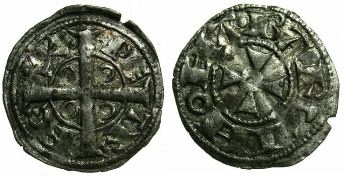 Ancient Coins - SPAIN.BARCELONA.Peter I ( II of Aragon ) AD 1196-1213.Billon Denaro.
