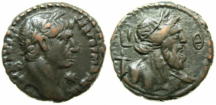 Ancient Coins - EGYPT.ALEXANDRIA.Trajan AD 98-117.Billon Tetradrachm, struck AD 115/16.~#~.Bust of Nilus.