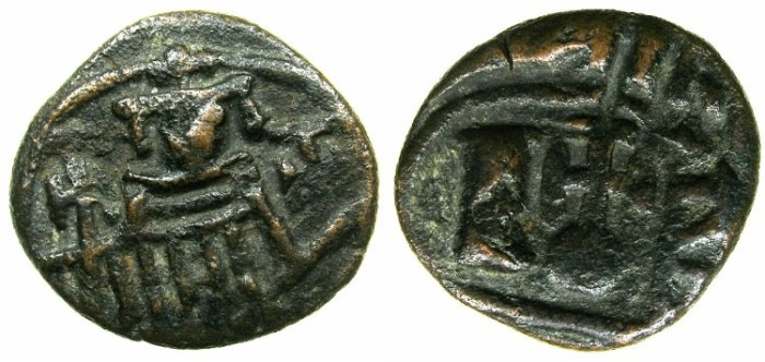 Ancient Coins - ARAB-BYZANTINE.EGYPT under the ARABS AD 642-705.AE.Fals.Mint of FUSTAT.