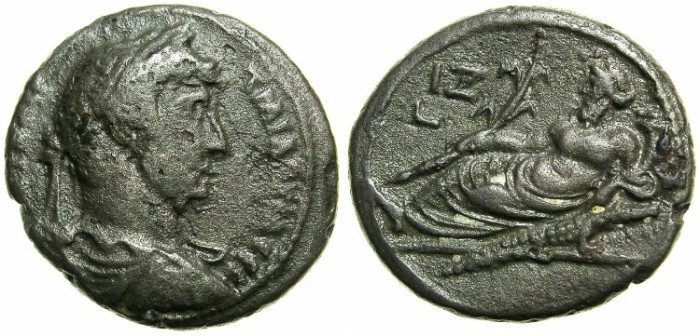 Ancient Coins - EGYPT.ALEXANDRIA.Hadrian AD 117-138.Billon Tetradrachm, struck AD 132/133.~#~Nilus reclining on crocodile.