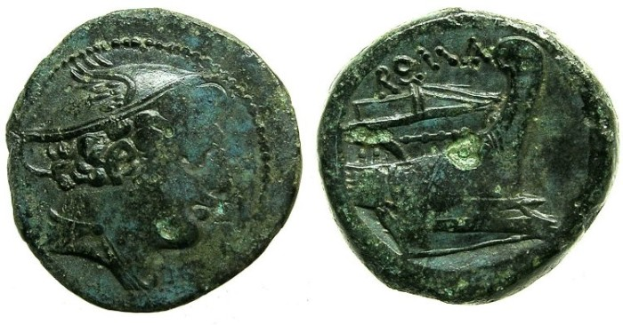 Ancient Coins - ROME.REPUBLIC.Anonymous issue struck Circa 217-215 BC.AE.Semuncia.Mercury.Prow.