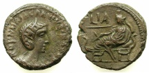 Ancient Coins - EGYPT.ALEXANDRIA.Cornelia Salonina, wife of Gallienus AD 253-268.Billon Tetradrachm, struck AD 263/64.~#~.Tyche reclining on couch