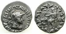 Ancient Coins - INDO-GREEK.Kingdom of Baktria.Antialkides circa 130-120 BC.AR.Drachma.~~~King wearing helmet.