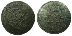 World Coins - ITALY.SAVOY.Carlo Emanuelle II 1639-1675 Regency issue with his mother Maria Cristina 1639-1648.Billon. 5 soldi. 1647.***EXCEPTIONAL GRADE FOR ISSUE ****