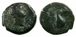 Ancient Coins - EGYPT.ALEXANDRIA.Domitian AD 81-96.AE.Obol.struck AD 91/92. Reverse. Dolphin entwined around anchor. RARE.
