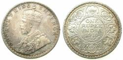 World Coins - INDIA.British Rule.George V 1910-1936.AR.One Rupee 1918 Bombay mint.