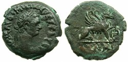 Ancient Coins - EGYPT.ALEXANDRIA.Domitian AD 87-96.AE.Obol, struck AD 89/90.~#~ Female Griffin, paw on wheel. **** EXCEPTIONAL GRADE FOR ISSUE *****