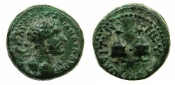 Ancient Coins - PHOENICIA.TRIPOLIS. Hadrian AD 117-138.AE.14.6mm. Struck AD 117~#~.Caps of the Dioscuri.