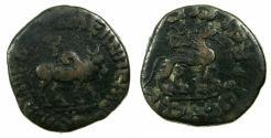 Ancient Coins - INDO SKYTHIAN.Azes II 35 BC-AD 5.AE.Hexachalkon. Bilingual legends: Greek / Kharoshi. Reverse.Lion