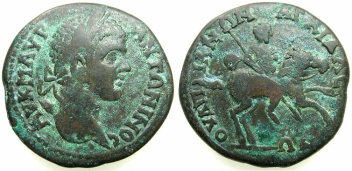 Ancient Coins - THRACE.ANCHIALUS.Caracalla AD 198-217.AE.26.7mm.~#~.Emperor riding right holding spear.****Not recorded in BMC Thrace or Moushmov.