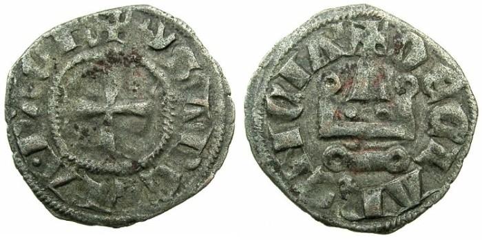 World Coins - CRUSADER STATES.GREECE.Principality of ACHAIA.Isabella of Villehardouin AD 1289-1297. Billon Denier.Type Y3.