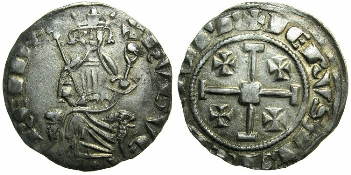 Ancient Coins - CRUSADER STATES.CYPRUS.Hugh IV AD 1324-1359.AR.Gros Grand.~~~Small cross between feet of king