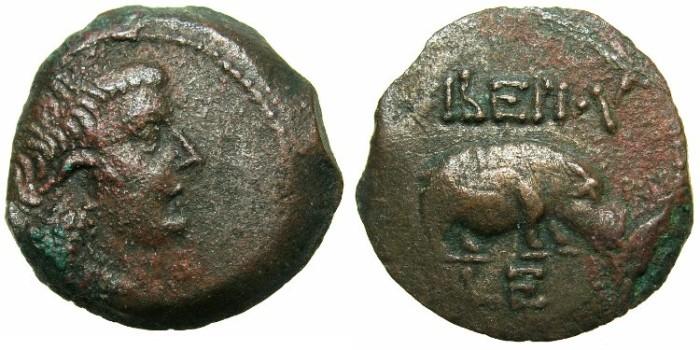 Ancient Coins - EGYPT.ALEXANDRIA.Tiberius AD 14-37.AE.Obol struck AD 18/19.~#~ HIPPOPOTAMUS