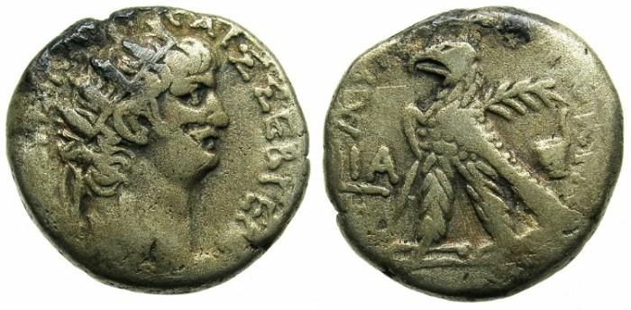 Ancient Coins - EGYPT.ALEXANDRIA.Nero AD 56-68.Bi.Tetradrachm.Struck 64/65.Rev.Eagle and Simpulium