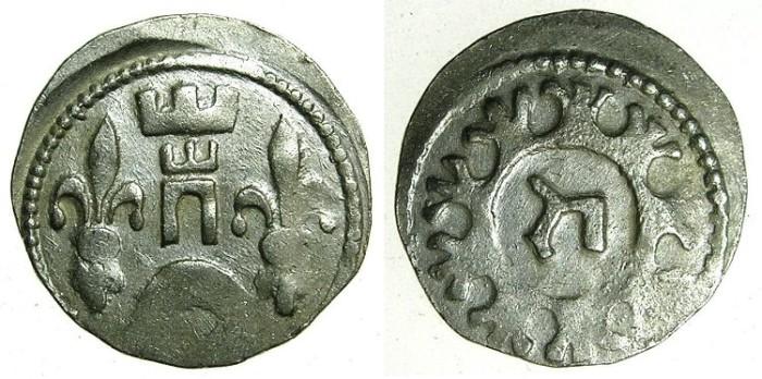 World Coins - HUNGARY.Bela IV AD 1235-1270.AR.Dinar.~#~.Hebrew letter HET.