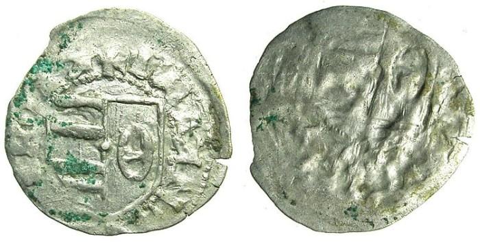 Ancient Coins - ROMANIA.VOIVODES OF WALLACHIA.Dan I 1383-1386.Bi.Denier.OBVERSE BROCKAGE