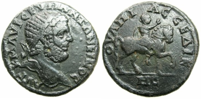 Ancient Coins - THRACE.SERDICA.Caracalla AD 198-217.AE.29.5mm.~#~Emperor riding right.