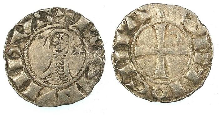Ancient Coins - CRUSADER.Principality of Antioch.Bohemond III or IV c.1163-1233.Bi.Denier.class N