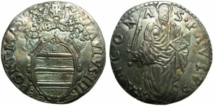Ancient Coins - ITALY.VATICAN.Pope Paul IV AD 1555-1559.AR.Giulio N.D.Mint of ANCONA.