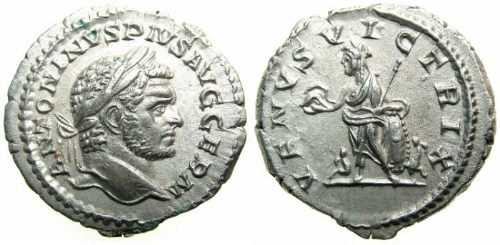 Ancient Coins - ROMAN.Caracalla Sole Emperor AD 212-217.AR.Denarius undated issue c.213-217.~~~VENUS.