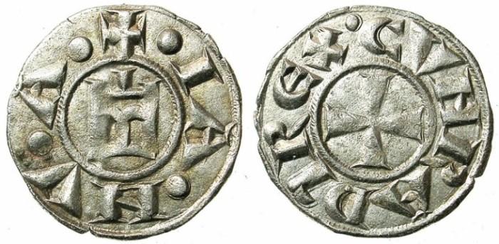 Ancient Coins - ITALY.GENOA.Republic 1139-1339.AR.Denier.