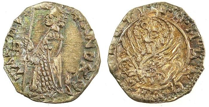 Ancient Coins - ITALY.VENICE.Andrea Contarini AD 1368-1382.AR.Soldino.Sigla letter D cut over B