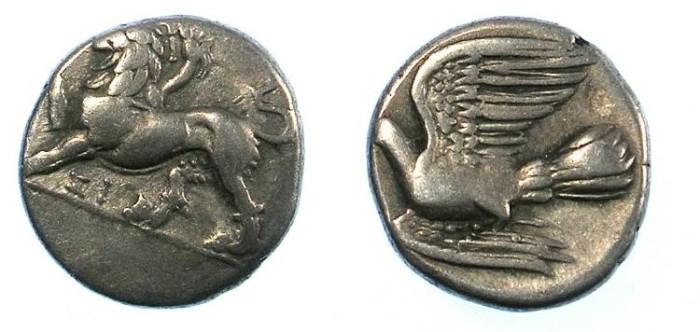 Ancient Coins - SICYONIA.Sikyon.C.4th C.BC.AR.Hemidrachm. Chimaera /  Dove.