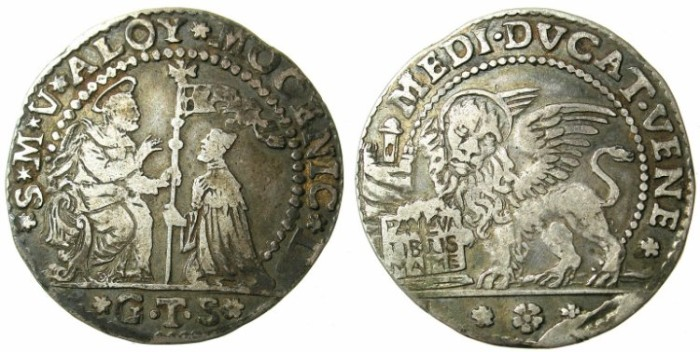 Ancient Coins - ITALY.VENICE.Alvise II Mocenigo AD 1700-1709.AR.Mezzo Ducato.