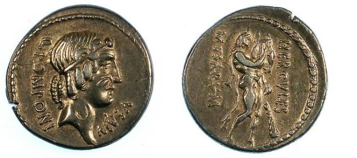 Ancient Coins - ROME.REPUBLIC.Q.Pomponius Musa 66 BC.AR.Denarius.Rev.Heracles Musagetes