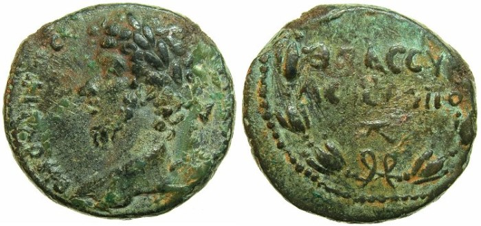 Ancient Coins - SYRIA.HIEROPOLIS-BAMBYCE.Lucius Verus AD 161-169.AE.22mm.~~~Laurate bust of Verus.