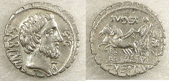 Ancient Coins - ROME Republic T Vettius Sabinas 70 BC AR Denarius Serratus