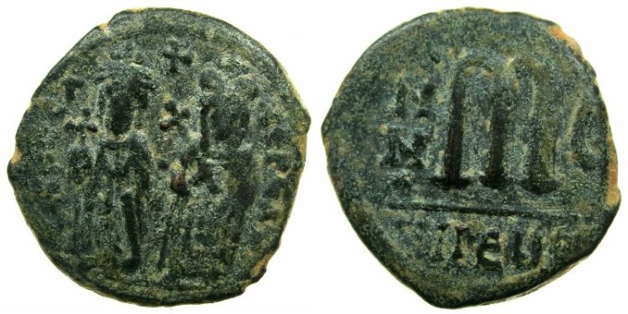 Ancient Coins - BYZANTINE EMPIRE.Phocas AD 602-610.AE.Follis, struck AD 606/07.Mint of THEOUPOLIS ( ANTIOCH ).