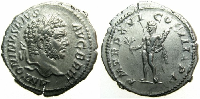 Ancient Coins - ROME.Caracalla Sole emperor AD 212-217.AR.Denarius.AD 213.~~~Augustus BRIT ~~~Heracles holding branch and club
