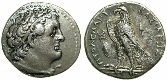 Ancient Coins - EGYPT.Ptolemy II Philadelphus 285-246 BC.AR.Tetradrachm.Struck c.272/1--266/5 BC.Mint of ALEXANDRIA.~#~Galatian shield.