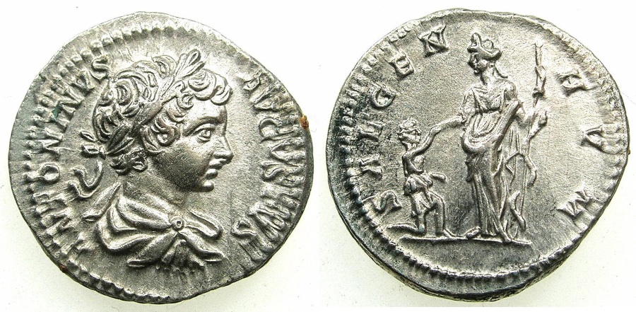 Ancient Coins - ROMAN.Caracalla AD 198-217.AR.Denarius, struck AD 199-200.Mint of LAOCICEA.~#~Salus with kneeling woman.