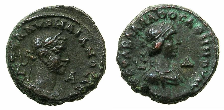 Ancient Coins - EGYPT.ALEXANDRIA.Aurelian AD 270-275 and Vabalathus .Bi.Tetradrachm.AD 270/271.Small busts