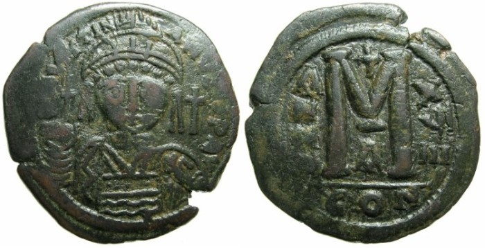 Ancient Coins - BYZANTINE EMPIRE.Justinian I AD 527-565.AE.Follis.AD 545/46.Mint of CONSTANTINOPLE.