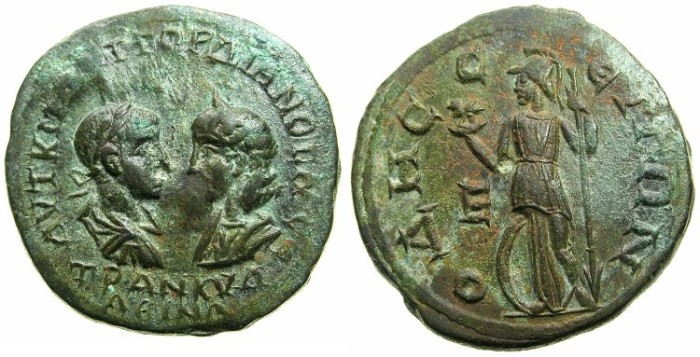 Ancient Coins - THRACE.ODESSUS.Gordian III and Tranquillina AD 241-244.AE.5 Assaria.~#~Athena standing left holding owl.