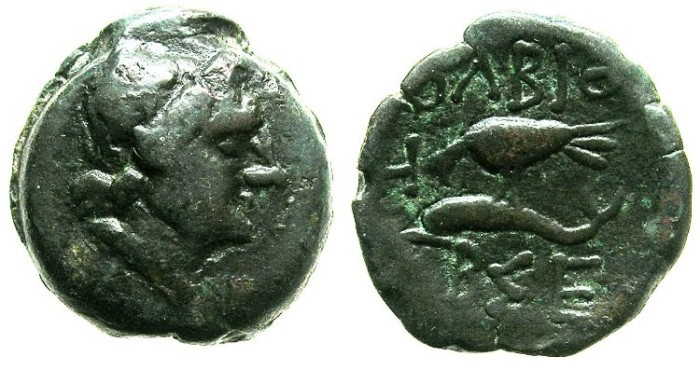 Ancient Coins - BLACK SEA.OLBIA.Mid.2nd Cent BC.AE.20.Demeter.Eagle with Dolphin.