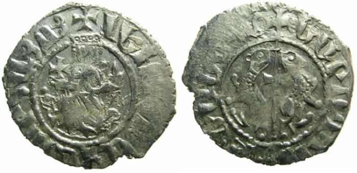 Ancient Coins - CILICIAN ARMENIA.Levon I The Great AD 1199-1219.AR.Tram. ~~~Sigla large dot left field and star right.