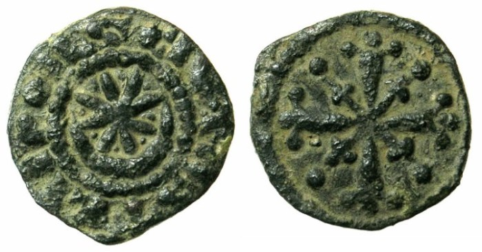 Ancient Coins - CRUSADER.TRIPOLI.Raymond III AD 1152-1187.Anonymous issue.AE.Fraction.Type 4b