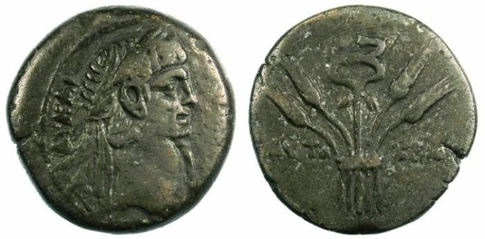 Ancient Coins - EGYPT.ALEXANDRIA.Claudius AD 41-54.AE.Diobol.Rev.Caudecus
