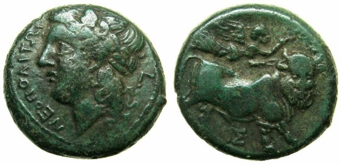 Ancient Coins - CAMPANIA.NEAPOLIS.Circa 270-240 BC.AE.19.4mm.~~~Apollo laurate.~#~Man headed bull.