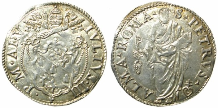 Ancient Coins - ITALY.VATICAN.Pope Julius III 1550-1555.AR.Guilio ( 1555).Mint of Rome.Saint Peter
